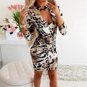 Повседневные платья с длинным рукавом высокой шеи леопард печатают сексуальное bodycon мини-платье 2021 осень зима женщины мода рождественская вечеринка одежда