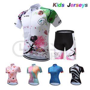 2021 Kids Pro Cycling Jersey Setkit para la princesa de verano Manga corta transpirable Quick Dry Bicycle Lovely Grils Ropa