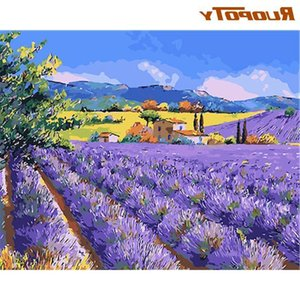 RUOPOTY Purple Flower View Painting By Numbers Kits HandPainted Diy Gift For Adults Children 60x75cm Frame Home Decoration Craft