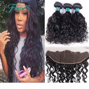 Indian Hair Wet And Wavy With 13x4 Full Lace Frontals 4Pcs Lot 8A Water Wave Human Hair Bundles With Lace Frontal Closure