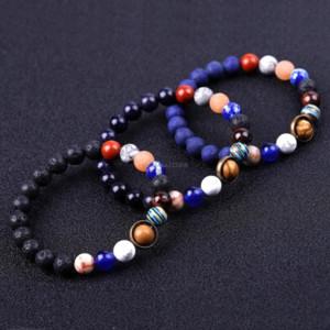 Красочные Каменные Вселенные Солнцезащитный браслет Lava Rock Tiger Eye Бирюзовые Натуральные Каменные Бусы Браслеты Для Женщин Мужчины Мода Ювелирные Изделия