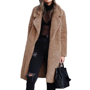 Winter Long Fleece Furry Coat Women Wool Blends Outerwear Thickness Warm Female Jacket High Street Casual Loose Overcoat 8L1388
