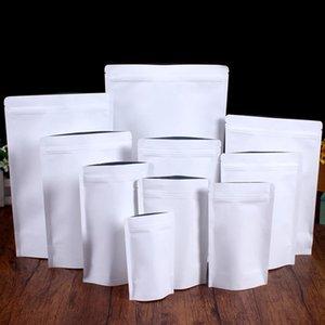 Bolsa de papel de kraft blanco Papel de aluminio Papeles de aluminio Soporte de bolsas de almacenamiento de sellado reciclable para bocadillos de té