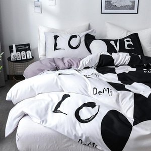 Bedding Duvet Cover Set With Love Heart Comforter Quilt And Pillow Case Twin Queen King Size Bedclothes Home Hotel Use