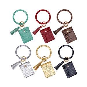 Fashion Stone Pattern Keychain Party Favor Pocket Card Bag For Women Girls PU Tassel Leather Card Bag Wrist Key Ring Bracelet Pendant Gifts