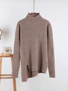 Autumn and winter 2020 heavy versatile half high collar Pullover twist knitted sweater women's irregular slant button top