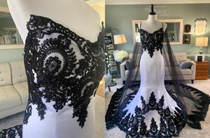 Amazing Black Lace and White Mermaid Wedding Dresses Country Designer Sweetheart Cheap 2021 Applique Wedding Bridal Gowns Cheap Custom-made