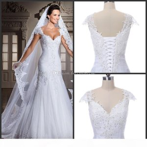 New The real picture new white arrivee robe DE noiva sexy strapless mermaid applique beads back bind the bride wedding dress 2018