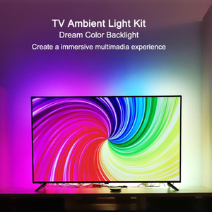 Ambient Kit for TV HDMI Devices Dream Screen 4K TV HDTV Computer Backlight Background Lighting USB WS2812B LED Strip Full Set
