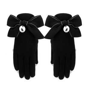 cotton gloves women's winter thickened Korean warm lovely Bowknot student spring and autumn elastic Plush touch screen