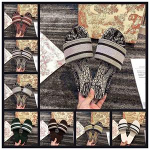 Mujeres Daway Slide Slide Slipper Ramour Negro y Beige Bordado Cotton Sandles Plana Plana Calidad Top Calle Sole Silver Metallic Shoes Multicolor