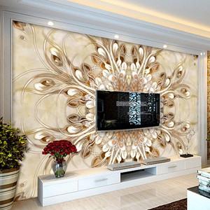 Özel 3D Duvar Kağıdı Lüks Mermer Çiçek Desen Sanat Duvar Resimleri Avrupa Tarzı Oturma Odası TV Arka Plan Duvar Kağıtları Ev Dekor
