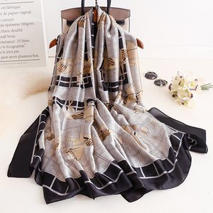 women 2021 spring and summer new long sunscreen Scarf carriage chain silk thin shawl 3F80