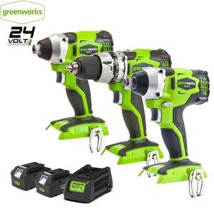Professionelle elektrische Schraubendreher GreenWorks 24V Schraubendreher bürstenlose Motorbohrer Schraubendreherschlagschlüssel Elektrowerkzeuge mit 4Ah Lithium
