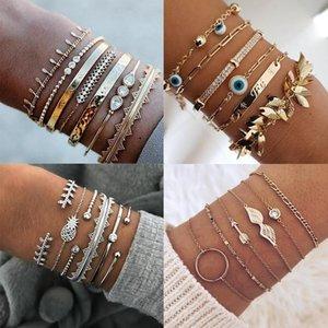 Charm Bracelets Bohemia Gold Tassel Bracelet For Women Femme Fashion Crystal Rhinestone Heart Geometric Evil Eye Bangle Jewelry Gift Wholesa
