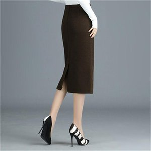Women's Wool Skirt Female New Size Big Section Waist Share Package Hip Step Wild Winter Y698