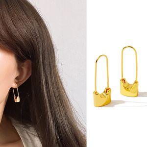 luxury designer jewelry women stud gold Lock earrings copper with Rose Gold Silver plated elegant Pin Earings fashion Bijoux fine jewelry