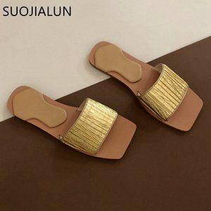 Suojialun 2020 Design Design Donne Slipper Slipper Moda Golden Slides Pleated Beach Beach Flip Flops Flat Casual Open Toe Sandalo N67A #