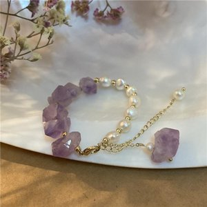 Link, Chain Natural Stone Pearl Bracelet Niche Design Sense Of Summer Amethyite Simple Small Fresh Hand String Jewelry Women