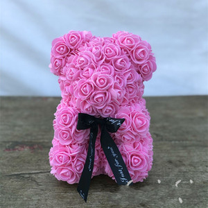 Dropshipping 25cm 40cm Teddy Rose Bear Artificial Flower Rose of Bear Christmas Decoration for Home Valentines Women Gifts 281 S2
