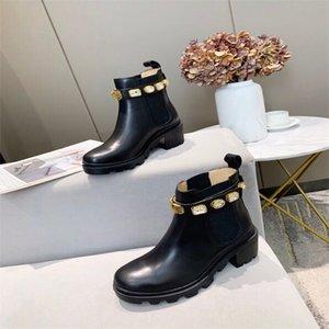 Роскошный дизайнер женские наполовину сапоги обувь зимний коренастый Med каблуки простые квадратные пальмы ног обуви дождевые ZIP женщин середины теленка добыча носить устойчивый к толщему бешеному ботинку A889