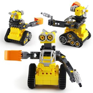 Track robot WALL-e toy big particle car bricks children assembled vehicel gun for boys educational gift 06