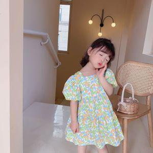 KML new korean ins fashions Girls flower dress cute children square neck summer kids princess dress