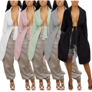Autumn Winter Women Long Trench Coats Classic Clothes Festival Outfit Streetwear Turn Down Collar Full Sleeve Backless Outwear