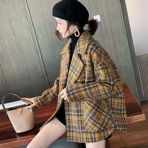 Bella Philosophy Plaid Woolen Coat Female Autumn Winter Loose Popular Korean Version of Retro Small Thickened Tweed Coat 210218