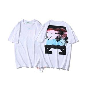 19ss ow Yunanistan Sınırlı Günbatımı Hindistan Cevizi Ok 3D Baskılı Kısa Kollu T-shirt Lovers 'Baolin G7