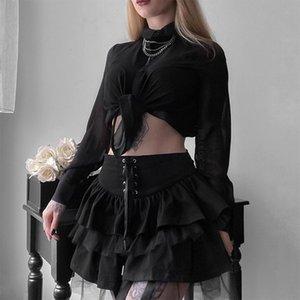 Goth Eestethetic Hight Up Mini юбка для женщин темные академии сетка лоскутное a-line юбка панк-стиль вечеринка Black Saias