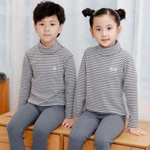 Pajamas 2-14 Yrs Children's Thermal Underwear Set Turtleneck Warm Long Johns Boys Girls Home Wear Cotton Winter Pyjamas