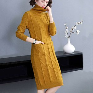 2020 New Slim Women's Autumn Winter Medium Long Sleeves Bottomed With Top And Sweater Maxi Dress Woman Casual Dresses Models Free Shipping
