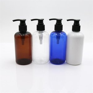 Cabello vacío Blanco Blanco Blanco 150pcs 250ml Amber PET Botella de champú de plástico con bomba y tapa de aluminio