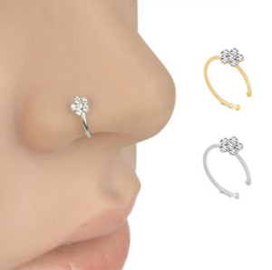 Fashion Jewelry Nose Ring Copper silver plating Floral C Shaped Faux Piercing Nose Ring 2pcs lot