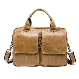 Men Briefcase Laptop Leather Cattlehide Sacoche Homme Computer Bag Office Bags For Man Bussiness Work 2021 Document Brown Bag