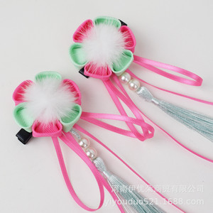 a of Price Girl's New Year's Accessories Children's Antique Jewelry China Fengchao Fairy Mink Hair Ball Tassel Hairpin Pair Clip