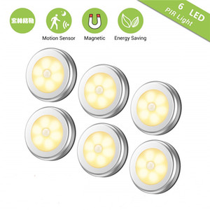6LED PIR Body Motion Sensor Activated Wall Light Night Light Induction Lamp Closet Corridor Cabinet led Sensor Light battery