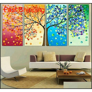 Four Seasons Tree Wall Canvas Art Decoration Picture Print Family Living Room Oil Painting No Frame Mama Dad qylhza garden2010