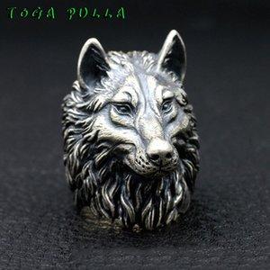 Cluster Rings Vintage Nordic Wolf Head Ring Men Silver Stainless Steel Punk Rock Biker Male Viking Amulet Jewelry