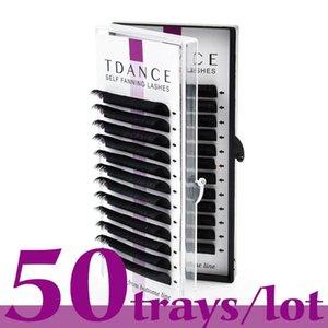 TDANCE 50pcs / lot Easy Fan Bloom Eyelash Extension Austomitic Flowering Fan Fan Fan Auto-matrice Volume Lashes