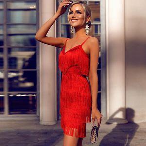 Ocstrade Tassel Red Bandage Dress 2020 New Designer Runway Women Elegant Bandage Dress Bodycon Vestidos Party Night Club Dress Y0122