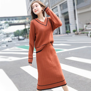 2021 New 2 Pieces Set Women Pullovers V-neck Long Sleeve Sweater & Knitted Skirts Bodycon Office Lady 2pcs Suits Sets Winter ZFPU