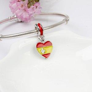 Nouveau drapeau national original Love Coeur Shape Pendentif DIY Perle Fit Fit Pandora Charms Bracelet Collier pour femme bijoux