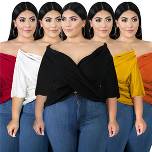 Summer Loose Women Tshirts Solid Batwing Sleeve Criss Cross Irregular Tops Casual Plus Size Women Clothes