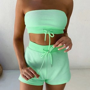 Strapless Tops and Shorts Women 2021 Fashion Summer Clothing Set Two Pieces Tracksuit Drawstring Suit for Female Sexy