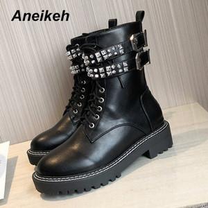 Aneikeh PU Deri Kadın Ayak Bileği Motosiklet Botları Ayakkabı Kadın 2020 Bahar Perçinler Ayakkabı Punk Sürme, Binicilik Çizmeler Boyutu 35 40 Ordu Boo S8DF #