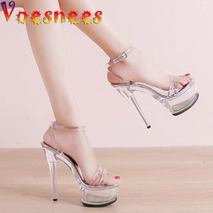 Voesnees 2021New Damenschuhe Transparente Kristall Ferse Wasserdichte Plattform Schnalle Sandalen Sommer Mode Pole Dance High Heels