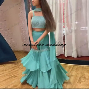 Two Pieces India Prom Dress Pants Suits Green Chiffon Spaghetti Straps With Saree Saudi Arabic Evening Party Gowns Vestidos