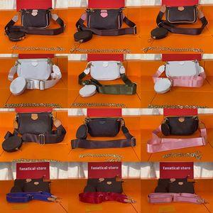 2021 Роскошные модные сумки Multi Pochette Accessoires Кошельки для женщин Любимые Mini 3PCS SET Community Crossbody Сумка Сумки